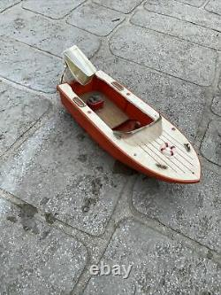 Vintage Model Battery Operated Motor Toy Speed Boat Parts Japan Wooden Wood