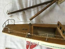Vintage Model Yacht Sail Boat Ship Movable Rudder 31 long -for Parts Or Repair