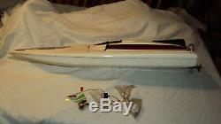 Vintage Nitro remote control boat V hull outdrive rudder R/C parts repair 37 in
