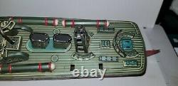 Vintage PT-107 Tin Litho Wind Up Torpedo Boat from 1950s for Repair or Parts