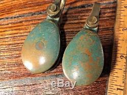 Vintage Pair Merriman Bronze Single Blocks 1 Sheaves, 5/16 Line, Great Patina