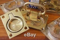 Vintage Perko Brass lifting handles, set of 4 plus 1 Never installed circa 1958