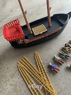 Vintage Playmobil Blackbeards Pirate Ship Sail Boat Many Parts