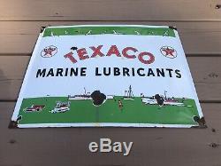 Vintage Porcelain Texaco Marine Lubricants Sign Gas Boat Motor Parts Pump Oil