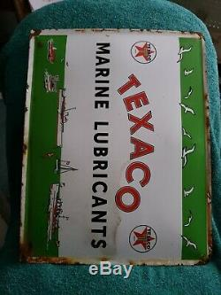 Vintage Porcelain Texaco Marine Lubricants Sign Gas Boat Motor Parts Pump Oil