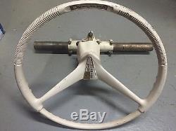 Vintage Quicksilver Ride Guide Boat Metal steering wheel helm complete w cable