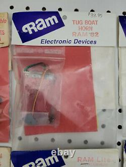 Vintage RAM Electronic Parts Lot Boat Horn Aluminum Lights Siren Alarm NIP NOS