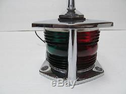 Vintage Red and Green Boat Yacht Runabout Chris Craft Bow Light with Flag Pole
