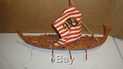 Vintage Renwal Toy Viking Ship With Original Sail For Parts