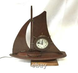 Vintage Sessions Electric Clock Sail boat AS IS FOR REPAIR OR PARTS