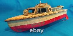 Vintage Tin Litho Japan Police Boat Wind Up Friction Toy Project Parts