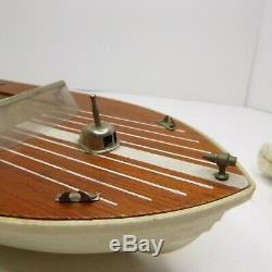 Vintage Toy Speed Boat 1960's with Electric Outboard Motor (Project) Parts, Repair