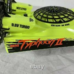 Vintage Tyco Mini Typhoon II 2 RC Boat 9.6V FOR PARTS OR PROJECT No Remote Neon