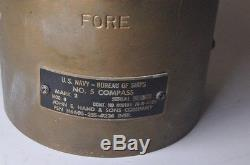 Vintage US NAVY Bureau Of Ships #5 Compass Mark VII Bronze