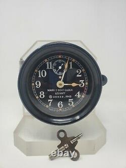 Vintage US Navy Mark I Boat Clock 1942 War Date Seth Thomas Rare Parts or Repair