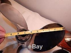 Vintage Used DAH Polished Stainless 3 Blade 14 Inch Boat Propeller For Mercury