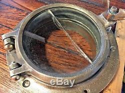 Vintage Wilcox Crittenden Old Cast Bronze 5 Round Porthole 7 3/4 Wide Flange