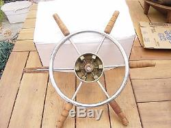 Vintage Wood/Chrome Cruiser Boat 22 Across 14Diam Steering Wheel, Chris Craft