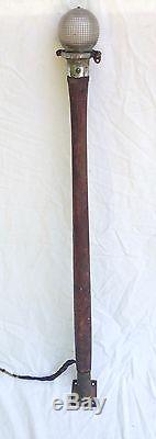 Vintage Wood Mahogany Boat Stern Light Pole With Mount & Glass Holophane Shade