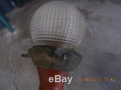 Vintage Wood Mahogany Boat/Yacht Stern Light Pole BIG 66& Glass Holophane Shade