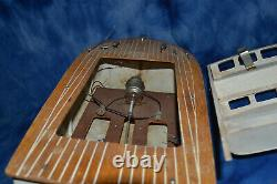 Vintage Wooden Japanese Model Boat For Parts Or Repair