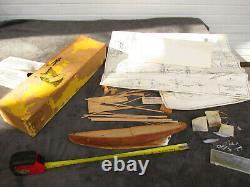 Vintage Wooden Model Boat Kit ELSIE Semi Built Old ASIS Pewter Parts GK