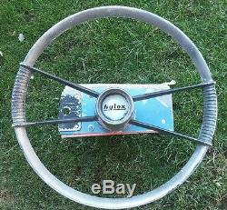 Vintage boat steering wheel Nylox aluminum steering wheel and pulleys