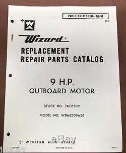 Vintage original 1964 WIZARD REPAIR PARTS CATALOG 9HP outboard motor boat marine