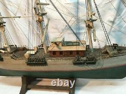 Vtg Nautical lg Model Boat Green White Hand Made in 31in long in Parts Repair
